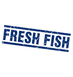 Square grunge blue fresh fish stamp vector