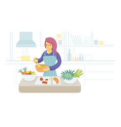 Stay at home woman cooking in kitchen vector