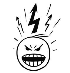 Stickman cartoon man in burst anger vector