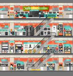 Supermarket or shop mall with home appliance vector