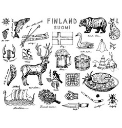 symbols finland in vintage style doodle sketch vector image