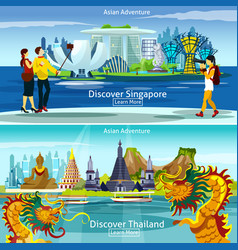 Thailand and singapore travel compositions vector