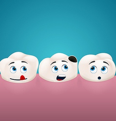 three teeth look at hole in one them vector image