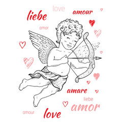 valentine s day card design with cupid angel word vector image