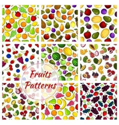 Vegetables and fruit set seamless patterns vector