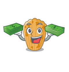 with money cake madeleine character a homemade vector image