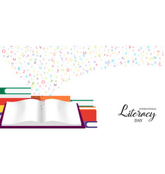 world literacy day card of school books for kids vector image