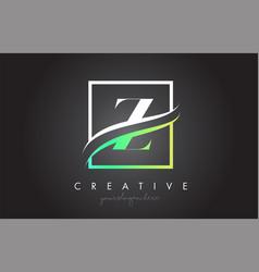 z letter logo design with square swoosh border vector image