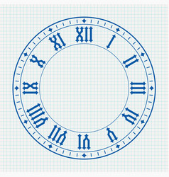 ancient clock face with roman numerals on lined vector image