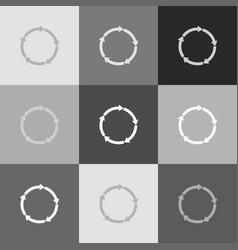 circular arrows sign grayscale version of vector image vector image