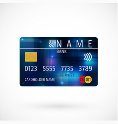 credit card with shadow vector image vector image