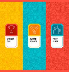 line winner award package labels vector image