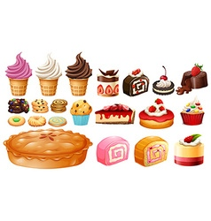 Set of different kinds of desserts vector image vector image
