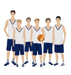 Young guys school basketball team with coach vector image vector image