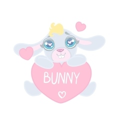 Bunny With Heart Shaped Sign vector image vector image