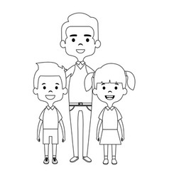cute father with kids avatars characters vector image