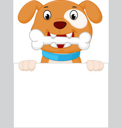 happy dog cartoon with bone vector image