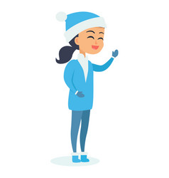 Isolated girl in snow-maiden costume on white vector