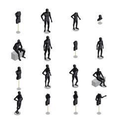 mannequins isometric set vector image vector image
