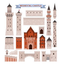 medieval castle parts like gates walls towers vector image