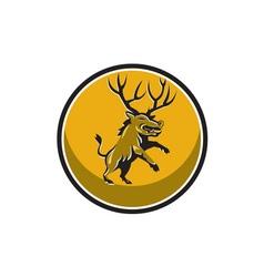 Razorback antlers prancing circle retro vector