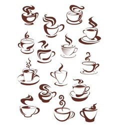 Steaming coffee cups set vector image vector image