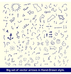 Blue hand drawn arrows set vector