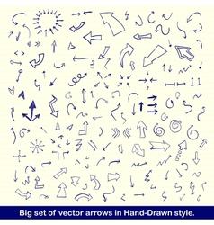 Blue hand drawn arrows set vector