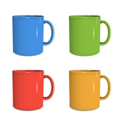 Four mugs of various colors vector image