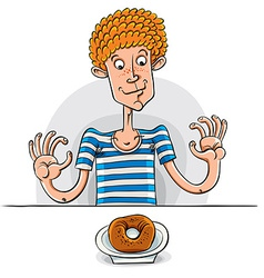 Teen boy with donut vector image