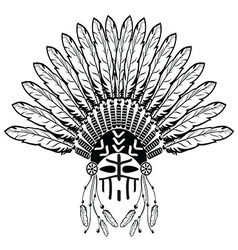 Warrior with Headdress with plain feathers vector image vector image