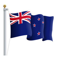 Waving new zealand flag isolated on a white vector
