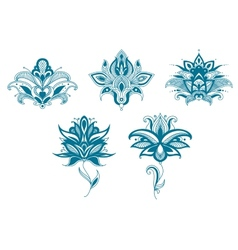 Blue paisley flowers set vector image