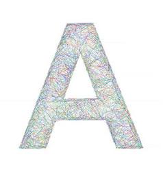 Colorful sketch font design - letter A vector image
