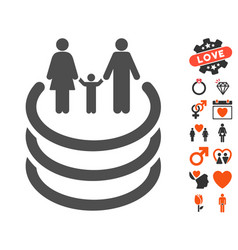 family portal icon with dating bonus vector image