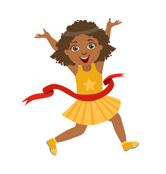 happy girl run to the finish line first in yellow vector image vector image