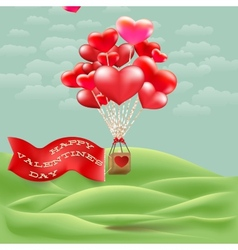 Heart-shaped hot air balloon taking off EPS 10 vector image vector image