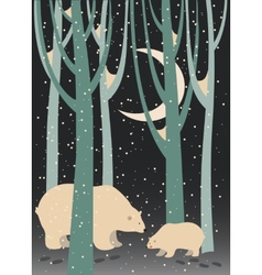 Polar bear and cub in the forest vector image