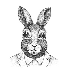 Rabbit Engraving vector image