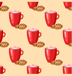 sweet delicious cracker coffee cup morning bakery vector image vector image