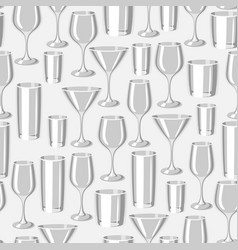 Types of bar glasses seamless pattern with vector