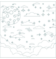 A Cartoon moon with space for text in the clouds vector