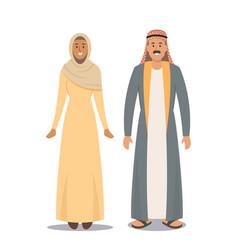 Arabic couple man and woman saudi people isolated vector