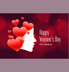 Beautiful womens day background with red hearts vector