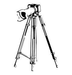 black camera with tripod on a white vector image