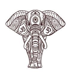 boho black elephant floral vector image