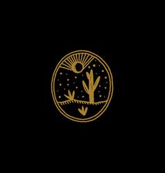 Boho magical logo or label night desert stylized vector