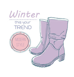 boots shoes for winter poster retro style design vector image