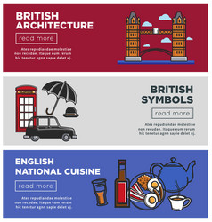 British architecture and national cuisine on web vector