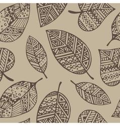 Brown line graphic leaf seamless pattern pr vector